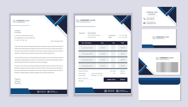 Classic stationery business corporate branding design with letterhead template, invoice and business card.