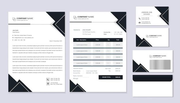 Классический дизайн фирменного стиля канцелярских товаров с фирменным бланком, счет-фактура и визитная карточка.