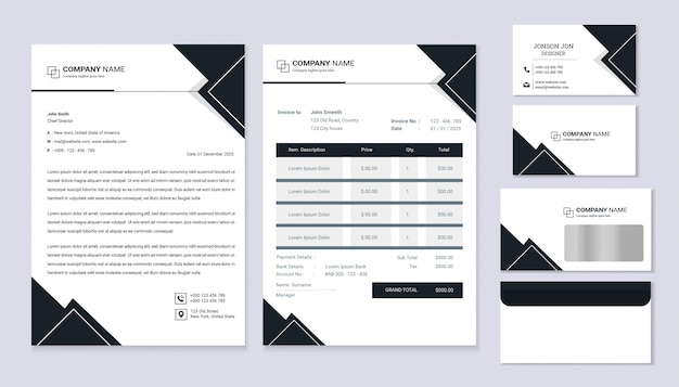 Classic stationery business corporate identity design with letterhead template, invoice and business card.