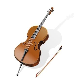 Классический струнный музыкальный инструмент - контрабас. контрабас и смычок. иллюстрация