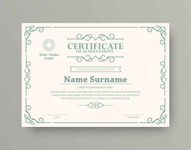 Classic style award certificate with frame