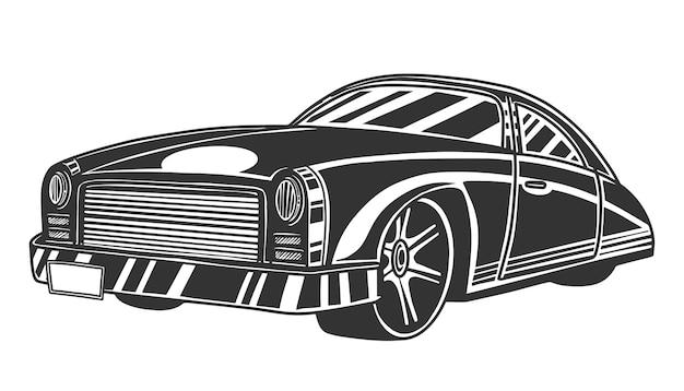 クラシックなスタイルの車、正面レトロな車両。白い背景で隔離されました。