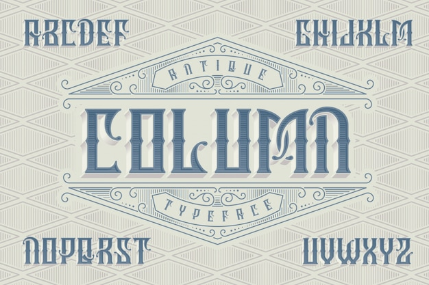 Classic style font set with vintage ornament