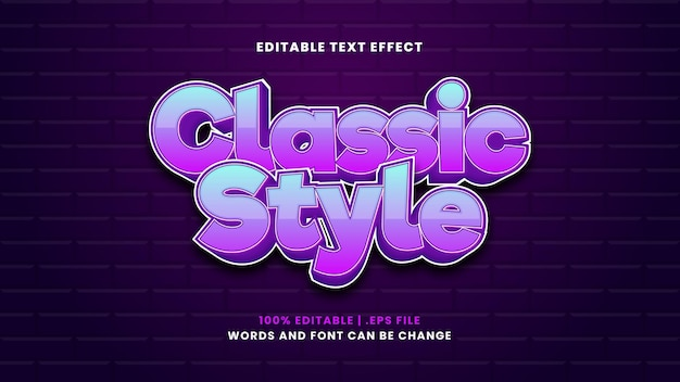 Classic style text effect in modern 3d style