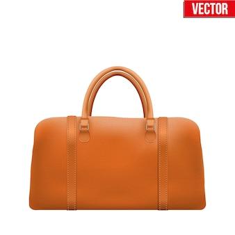 Classic stylish leather handle bag. fashion accessory.  illustration  on white background.