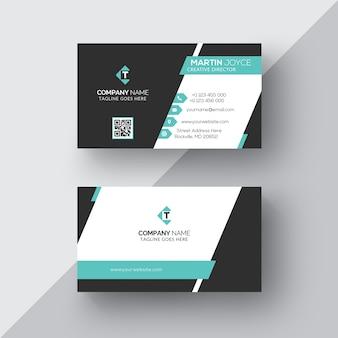 Classic & Stylish Modern Cyan & Black Business Card Template