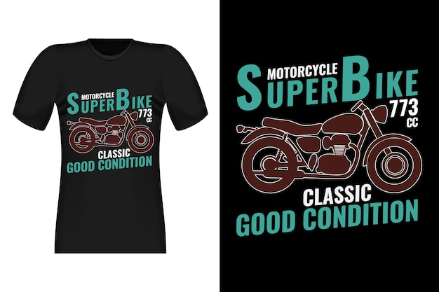 Classic super bike men's hand drawn style vintage t-shirt design