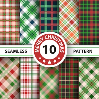 Classic tartan gingham, buffalo, lamberjack, merry christmas check plaid seamless patterns