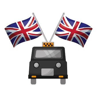 Classic taxi with flags of great britain