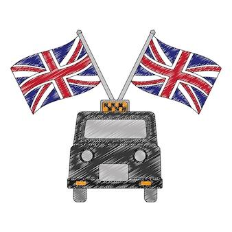 영국 국기와 함께 클래식 택시