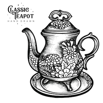 Classic teapot polychrome hand drawn