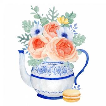 花の美しい束、春のお茶の時間と古典的なティーポット