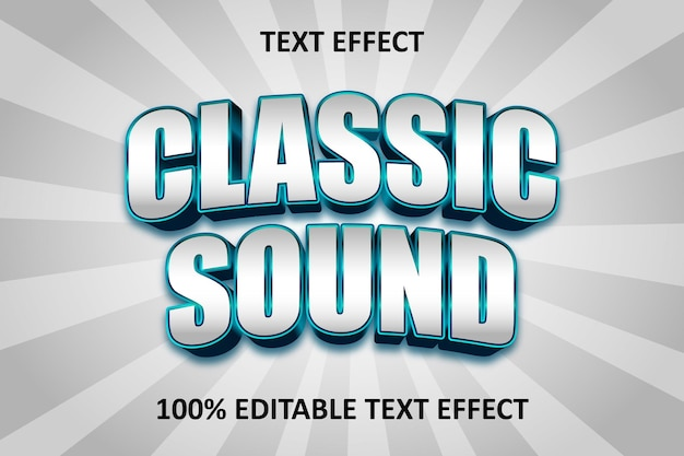 Classic text editable text effect blue cyan silver