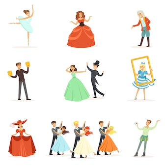 Classic theater and artistic theatrical performances series of illustrations with opera