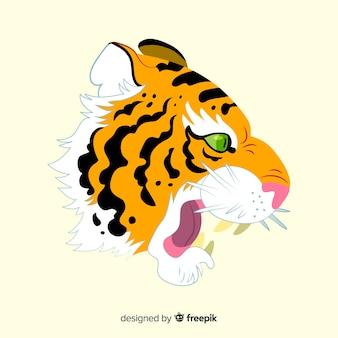 Classic tiger face compositio