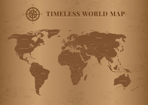 Classic and timeless world maps