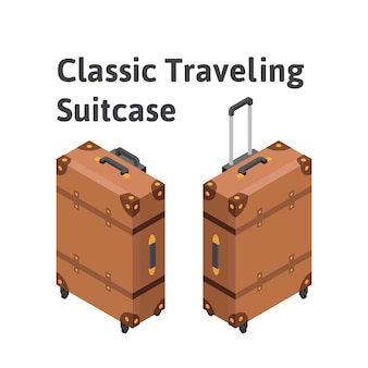 Classic traveling suitcase isometric