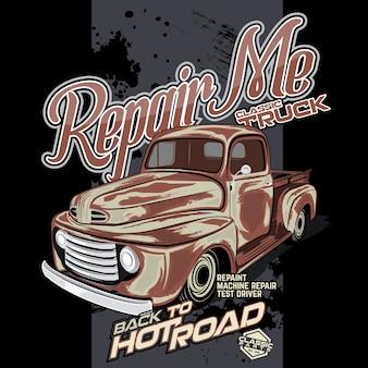 Classic truck repair, car vector illustration