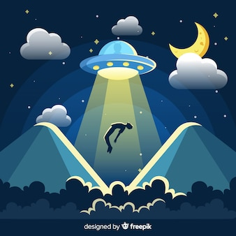 Classic ufo abduction concept with flat design