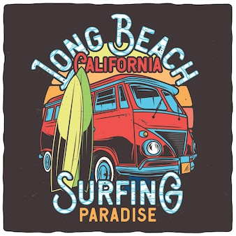 Classic van and surfing boards