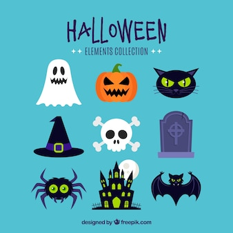 Classic variety of colorful halloween elements Free Vector