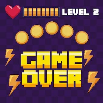 Классическая видеоигра монеты и сердечки