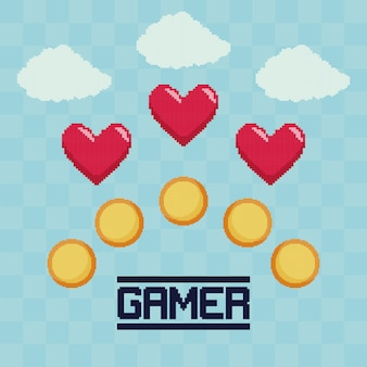 Classic video game coins and hearts