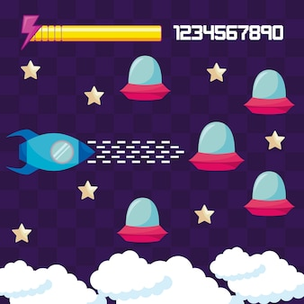 Classic video game rocket flying and ufos