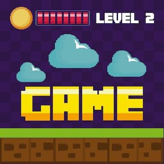 Классическая сцена видеоигры с облаками