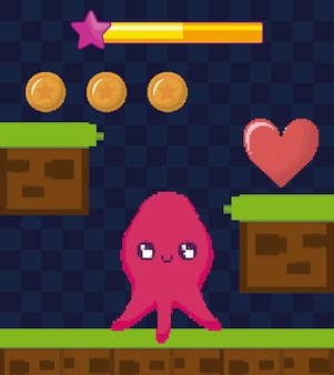 Classic video game scene with octopus mutant character