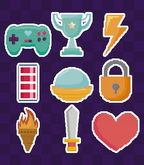 Classic video game set icons
