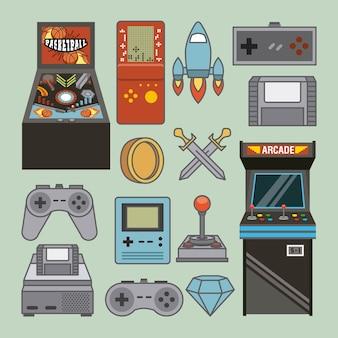 Classic videogames and console entertainment icons