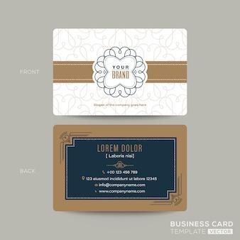 Классическая винтажная визитная карточка namecard дизайн шаблона. визитка для кафе, кафе
