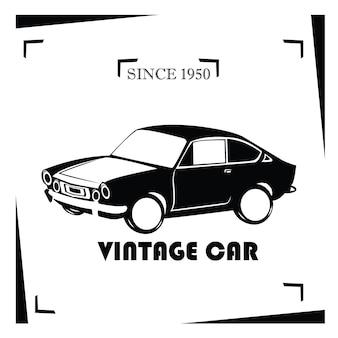 Шаблон логотипа классического старинного автомобиля