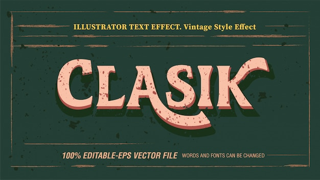Classic vintage editable text effect with grunge texture