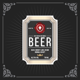 Classic vintage frame for beer labels banner
