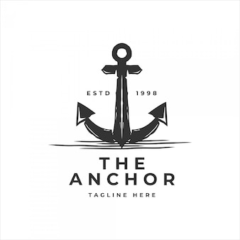 Classic vintage retro anchor for sailor logo template