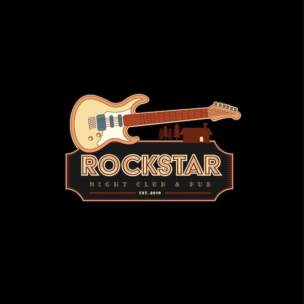 Classic vintage rock starのロゴのテンプレート