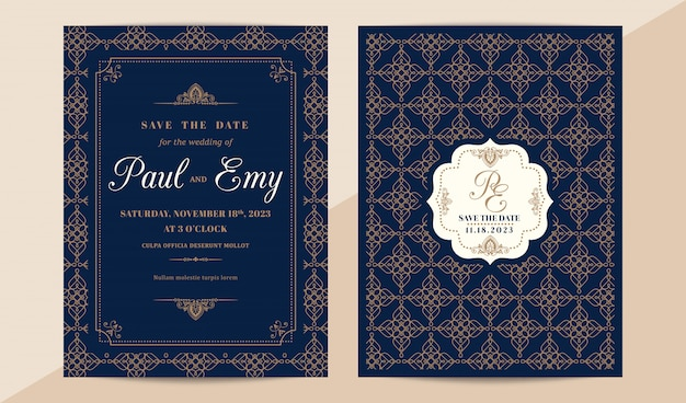 Classic vintage wedding invitation card with elegant pattern