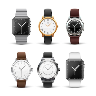 Classic watches isolated on white set