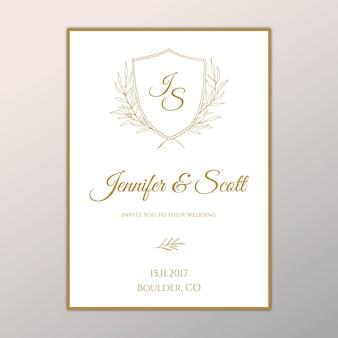 Classic wedding invitation design with crest