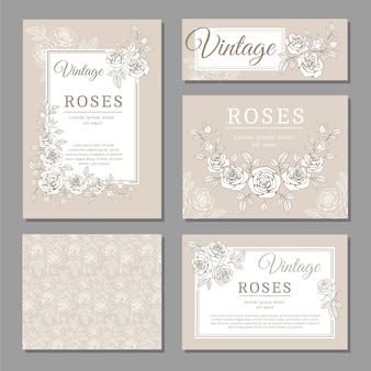 Классические свадебные старинные пригласительные открытки с розами и цветочными элементами векторных шаблонов