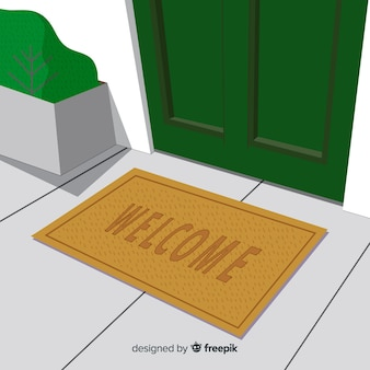 Classic welcome doormat with flat design
