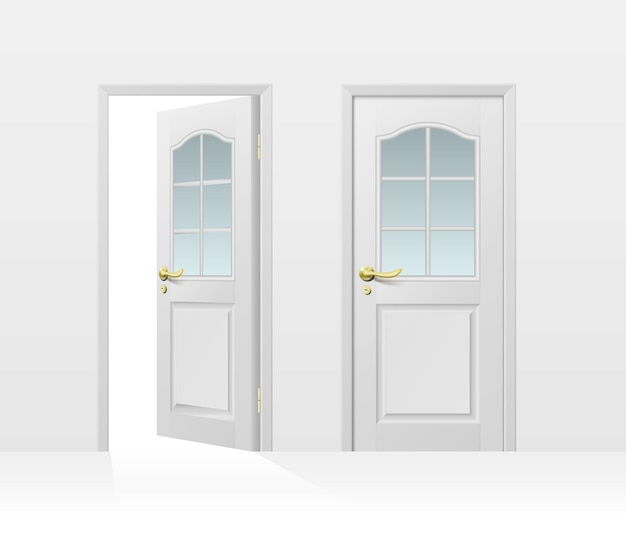 Classic white entrance door closed and open for interior and exterior design isolated on white