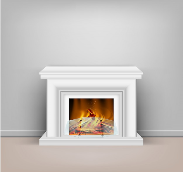 Classic white fireplace with a blazing fire for interior design in sandy or hygge style