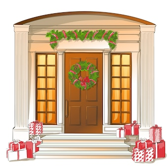 Classic white front door with christmas gifts and decorations