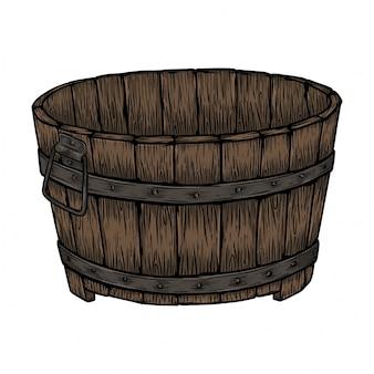 Classic wooden bucket
