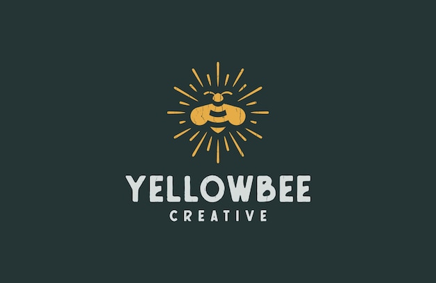 Classic yellow bee retro logo emblem