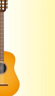 黄色の背景ベクトル上の古典的なアコースティックギター