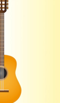 Classical acoustic guitar over yellow background vector